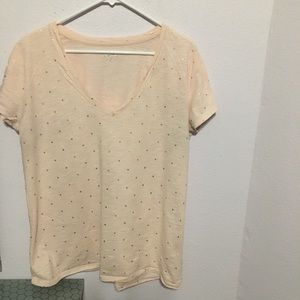 Merona XXL v-neck rose gold polka dot Tee